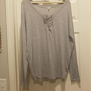 Womens VS light gray front tie up shirt